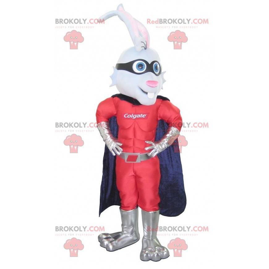 Maskot králíka oblečený jako superhrdina - Redbrokoly.com