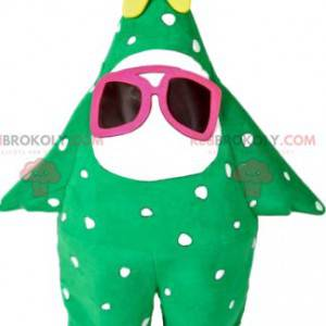 Mascota de abeto verde con una estrella amarilla -