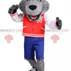 Wolf mascotte met een rode vintage jas. - Redbrokoly.com