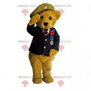 Medvěd maskot oblečený jako důstojník. Kostým medvídka -