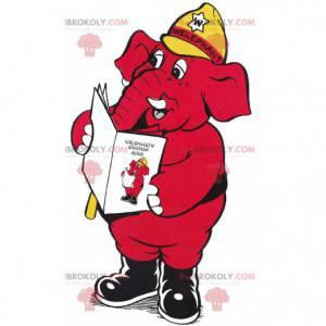 Mascote do elefante vermelho com um capacete amarelo. -