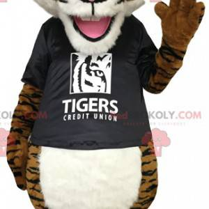 Brown tiger mascot with a black t-shirt - Redbrokoly.com