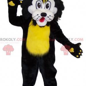 Černý a žlutý lev maskot. Lev kostým - Redbrokoly.com