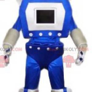Blaues und weißes lustiges Robotermaskottchen. Roboterkostüm -