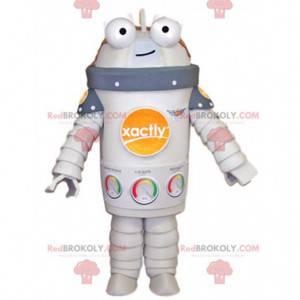 Mascotte robot bianco sorridente. Costume da robot -