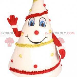 Witte boom mascotte versierd in rood en geel - Redbrokoly.com