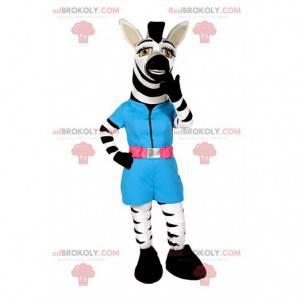 Zebra mascotte met een blauwe blouse - Redbrokoly.com