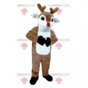Mascote de rena marrom e branca de alce caribu - Redbrokoly.com