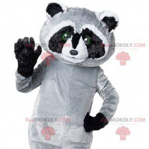 Grijze en zwarte wasbeer mascotte te schattig - Redbrokoly.com