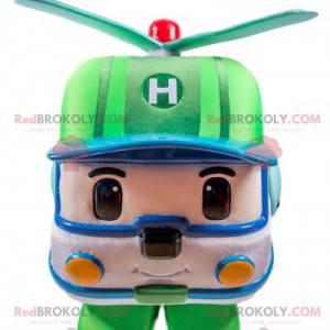 Grünes und weißes Hubschraubermaskottchen, Transformers Weg -