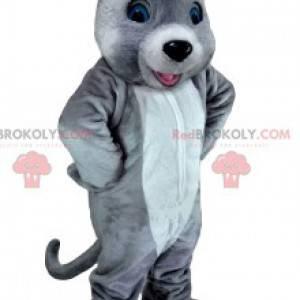 Mascot ratón blanco y gris. Disfraz de ratón - Redbrokoly.com