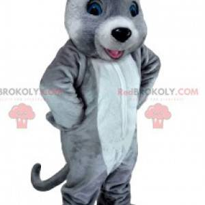 Maskot bílá a šedá myš. Myš kostým - Redbrokoly.com