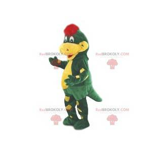 Mascote crocodilo verde e amarelo. Fantasia de crocodilo -