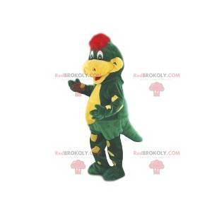 Mascotte coccodrillo verde e giallo. Costume da coccodrillo -