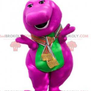 Mascota dinosaurio fucsia y verde. Disfraz de dinosaurio -