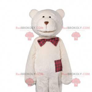 Eisbärenmaskottchen mit karierter Fliege - Redbrokoly.com
