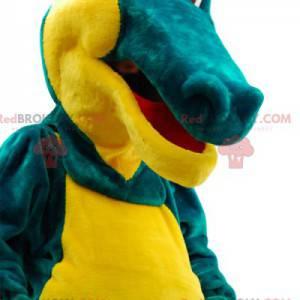 Mascote de crocodilo verde e amarelo muito cômico. -
