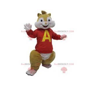 Mascotte scoiattolo con una maglia rossa. Costume da scoiattolo