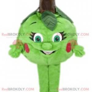 Mascot pequeña manzana verde. Disfraz de manzana -