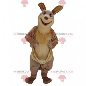 Mascote canguru marrom engraçado e realista - Redbrokoly.com