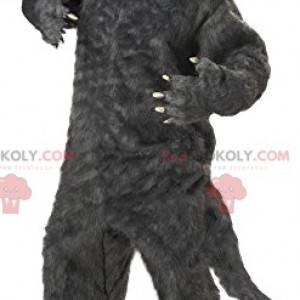 Erschreckendes graues Wolfsmaskottchen. Wolfskostüm -