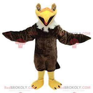 Hnědý a bílý zlatý orel maskot. Kostým orla - Redbrokoly.com