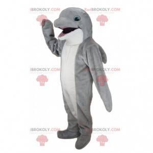 Mascote golfinho gigante cinza e branco - Redbrokoly.com