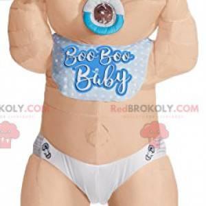 Mascote do bebê com lindos olhos azuis. Fantasia de bebê -