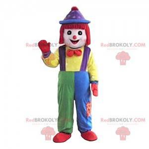 Clown mascotte met een mooie veelkleurige overall -