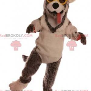 Dog mascot with yellow glasses. Dog costume - Redbrokoly.com