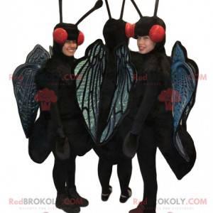 Maskoter med tre sorte og blå sommerfugle. Sommerfugl kostumer