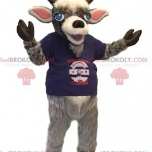 Mascota de carnero con una camiseta azul. Disfraz de Aries -