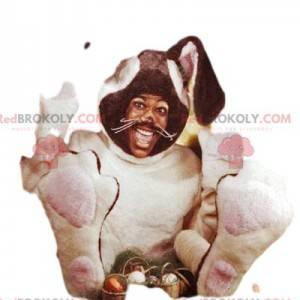 Cream and brown rabbit mascot. Bunny costume - Redbrokoly.com