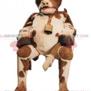 Hnědý a bílý kráva maskot se zvonkem - Redbrokoly.com