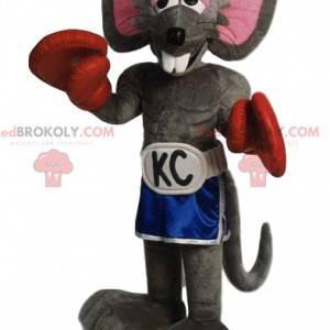 Šedý maskot myši s kraťasy a boxerskými rukavicemi -