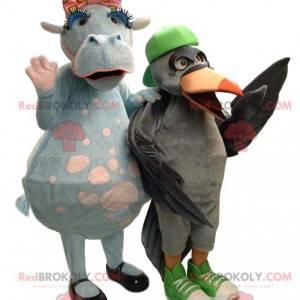 Two cow and bird mascots - Redbrokoly.com