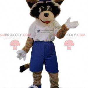 Hundemaskottchen mit blauen Shorts und einem weißen T-Shirt -