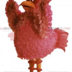 Mascote de galinha rosa com belas penas - Redbrokoly.com