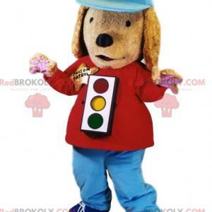 Maskot psa se semaforem a čepicí - Redbrokoly.com