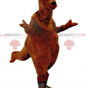 Mascot kangoourou marrón con rodillos de pastelería -