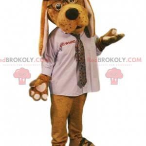 Maskot psa s bílou košili a kloboukem - Redbrokoly.com