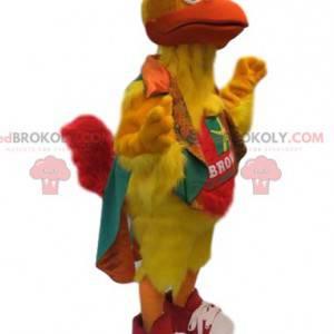 Mascota de pollo amarillo neón. Disfraz de pollo -