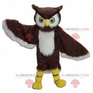 Hnědá a bílá sova maskot - Redbrokoly.com