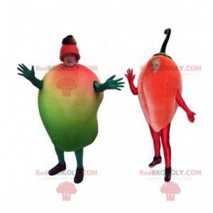 Dupla de mascotes de frutas exóticas. Fantasia de fruta -