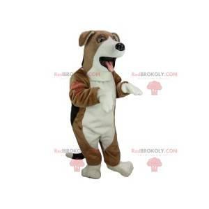 Super pěkný bílý a hnědý psí maskot - Redbrokoly.com