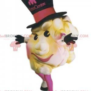 Apetyczna maskotka popcorn w dużym czarnym kapeluszu -