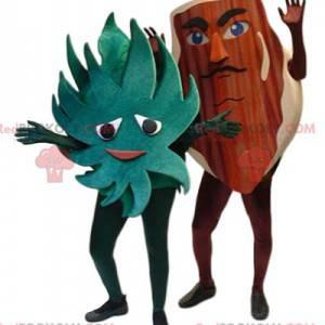 Hazelnut mascot and its green leaf. Hazelnut costume -