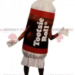 Doces de mascote vermelho e branco. Fantasia de doces -