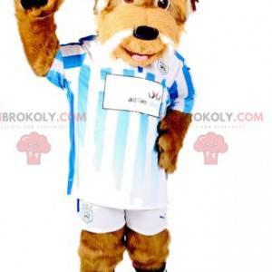 Brown dog mascot in sportswear. Dog costume - Redbrokoly.com