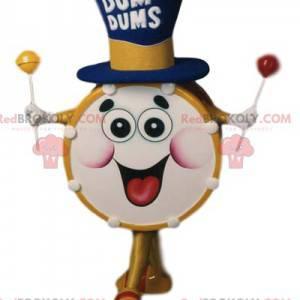 Super funny drum mascot with a big hat - Redbrokoly.com